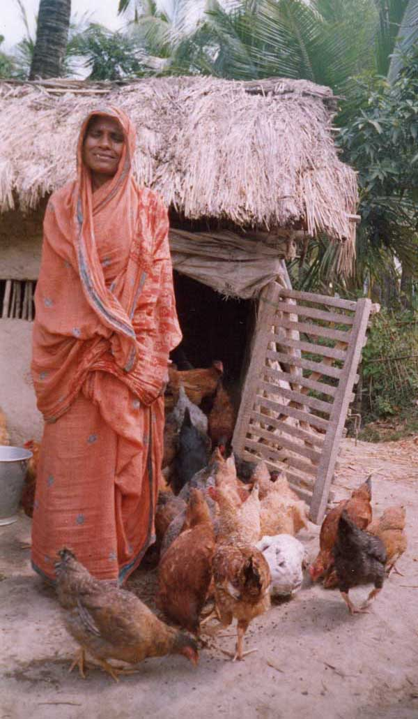 Widow with hens.